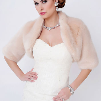 Blush Mink Faux Fur Bolero Jacket | Fabulous-Furs