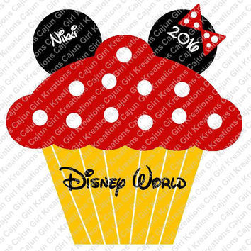 Minnie Mouse Cupcake Personalized with Name Date Etc Disney World Birthday Etc Printable Digital Iron On Transfer Clip Art DIY Tshirts