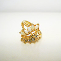 Vintage Gold Ring with White Stones and by CutandChicVintage