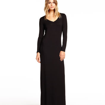 Michael Stars Long Sleeve Scoop Neck Maxi Dress with Side Slits