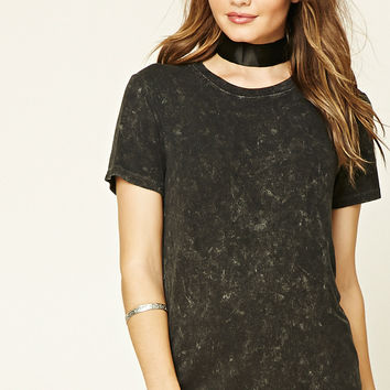 Acid Wash Ribbed Knit Tee