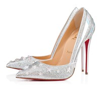 Wonder Pump 120 Version Silver Crepe Satin/Lurex - Women Shoes - Christian Louboutin