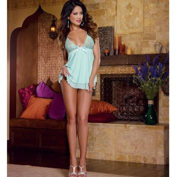 Stretch Lace Mesh Flyaway Back Babydoll & Thong Aqua Xl