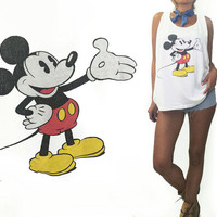 Vintage 1970's 1980's Mickey Mouse Tank Top T-Shirt || Unisex || Size XL