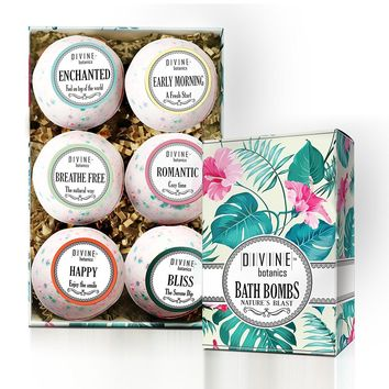 6 XL USA Made Lush Bath Bombs Kit - Organic Coconut oil and Shea Butter - Valentines Gift For Women and Her - Bath Fizzies - Best Gift Ideas and Gift Sets - Use with Bath Bubbles Basket Bath Beads