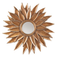 OSP Designs Orleans Beveled Sun Flower Wall Mirror in Gold