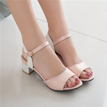 Open Toe Ankle Straps Sandals Women Chunky Heel Pumps 4799