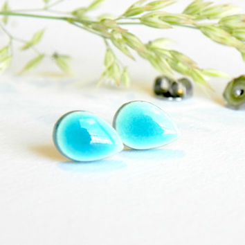 Turquoise Stud Earrings Tiny Aqua Drop Ceramic Stud Earrings Hypoallergenic Posts  Tiffany Blue Bridal Jewelry