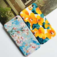 Fashion embossment flowers plastic Case Cover for Apple iPhone 7 7Plus 6 Plus 6 -05012