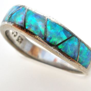 Sterling Silver Opal Ring Band CO Vintage Size 6