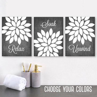 FARMHOUSE BATHROOM Wall Decor, Gray Flower Bathroom Canvas or Prints, Relax Soak Unwind Quote, Flower Bathroom Pictures, Set of 3 Artwork