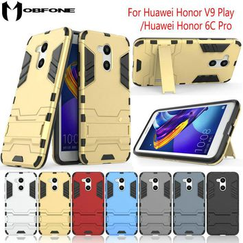 "Shockproof Hybrid Kickstand Rugged Armor PC+TPU Cover Case For Huawei Honor V9 Play / Honor 6C Pro (5.2"") Stand Protective Shell"