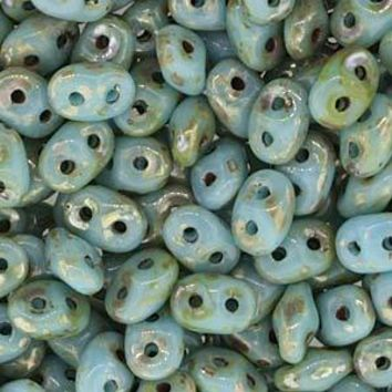 DU0563030-43400 - Czech Glass SuperDuo Beads, Turquois Blue Picasso | 50 Grams