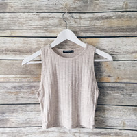Hallie Ribbed Crop Tank (Oatmeal Color)