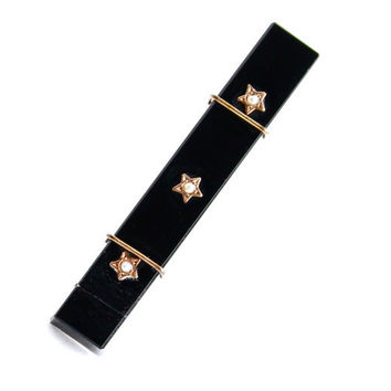 Antique Gold Filled Black Glass & Seed Pearl Star Bar Pin - Victorian 1800s Mourning Rose Gold Jewelry / Triple Stars