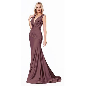Long Fitted Jersey Gown Deep Mauve Ruched Pleated Waistline Deep V-Neckline