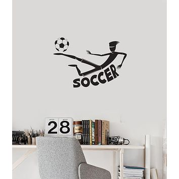 Vinyl Wall Decal Soccer Boy Player Sports Room Art Decoration Idea Interior Stickers Mural (ig5985)