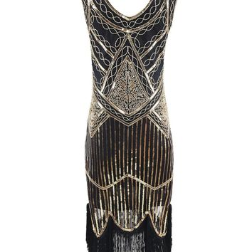 Vintage 1920s Style Gatsby Dress Sleeveless Fringe Trim Flapper Tassel