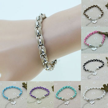 Silver Chain Suede Leather Rope Sister Charm Bracelet Bangle Fas