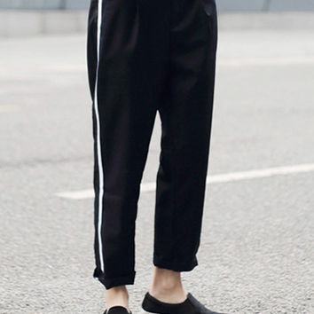 Black Side Stripe Ankle Pants