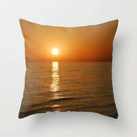Orange sunset Throw Pillow by Guido Montañés