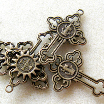 Cross Antiqued Brass Pendant Charm Necklace Jewelry  Findings (1)