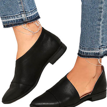 D'Orsay Pointed Toe Open Shank Oxford Flats Black