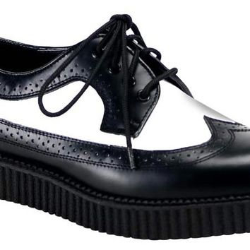 CREEPER-608 Demonia Black and White Creepers
