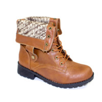 Convertible Sweater Cuff Lace-Up Combat Boots Cognac | Danice Stores