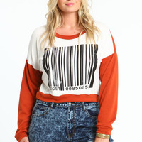 PLUS SIZE CONTRAST BAR CODE TEE
