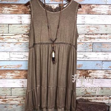 Plus Size Mocha Tank Dress - Washed Look