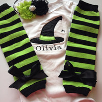 Baby Girl Halloween Outfit- personalized baby girl halloween outfit - baby halloween costume - witch baby costume - halloween leg warmers