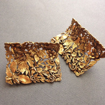 Musi Shoe Buckles Gold Leaves Floral Shoe Clips