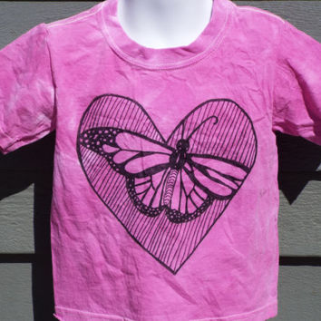 Toddler Butterfly Shirt- 2T Tie Dye with Zentangle Butterfly- Zentangle Heart Shirt- Toddler Tie Dye Heart- Little Girls Shirt