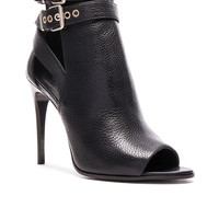 Burberry London Overfield Peep Toe leather Ankle Booties in Black | FWRD