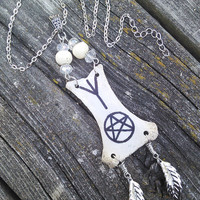 Rune Necklace, Bone Necklace,Wiccan Witchcraft Rune Necklace,Boho necklace,Gypsy necklace,Pagan Jewelry,shaman necklace,Real animal bones