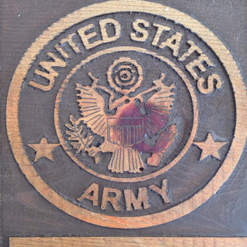 USA Army Eagle Logo Plaque, Wooden Army Sign, Eagle carved In Wood