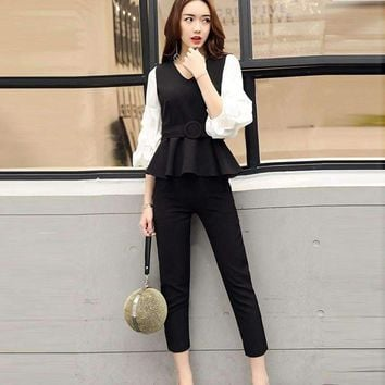 Fashion Women Business Suits Formal Office Strench Suits Work Uniform Designs Women Top Cropped Pant 2 Piece Set