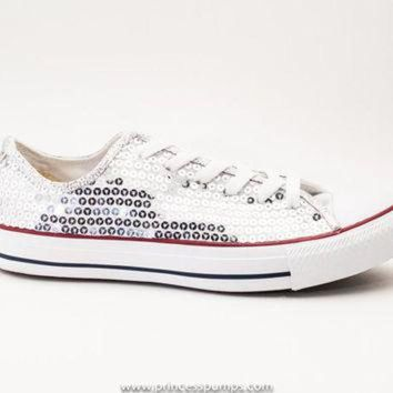 LMFUG7 Silver Sequin Canvas Converse All Star Low Top Sneakers Shoes