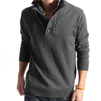 Pullover Inset Shirt Collar Men Sweater