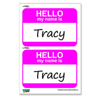 Tracy Hello My Name Is - Sheet of 2 Stickers