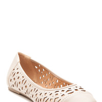 Nude Faux Leather Laser Cut Out Flats