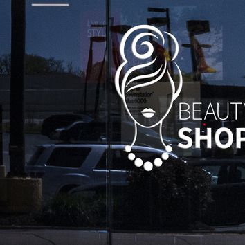 Window Mural and Vinyl Wall Decal Beauty Shop Woman Fashion Girl Stickers Unique Gift (300igw)