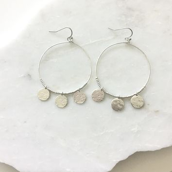 Nala Dangle Hoop Earrings In Silver