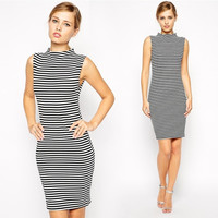 Women Sleeveless Striped Bodycon Party Cocktail Evening Pencil Dress Clubwear S0 F_F
