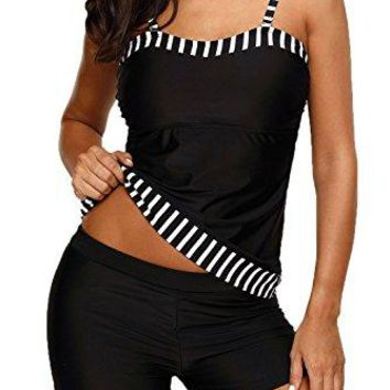 HOTAPEI Womens Tankini Tops Two Piece Swimsuit Tankini Set With Boyshort
