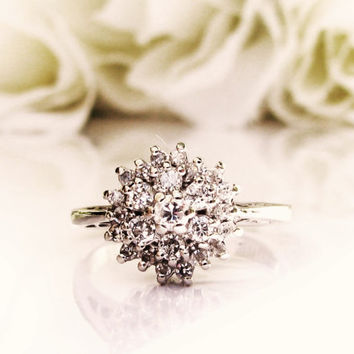 Vintage Engagement Ring 0.64ctw Diamond Cluster Ring 14K White Gold Floral Diamond Wedding Ring Size 5!