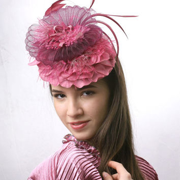 Ascot hat free delivery! Ash Rose Royal Ascot Fascinator, Kentucky derby hat, Wedding feathers head piece and lace,Race derby garden party