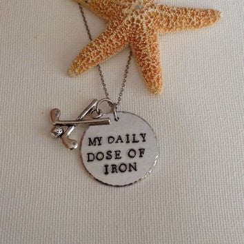 Golf necklace, Daily dose of iron, golf clubs, gifts for golfers, handstamped and personalized, tee time, clubs and balls