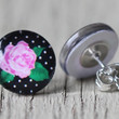 Floral Print Earrings : Black and White Polka Dot, Pink and Green, Vintage Flower Stud Earrings, Fake Plugs, Cabochon, Flat Back